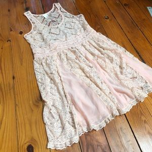 Anthropologie lace pink dress swing small summer